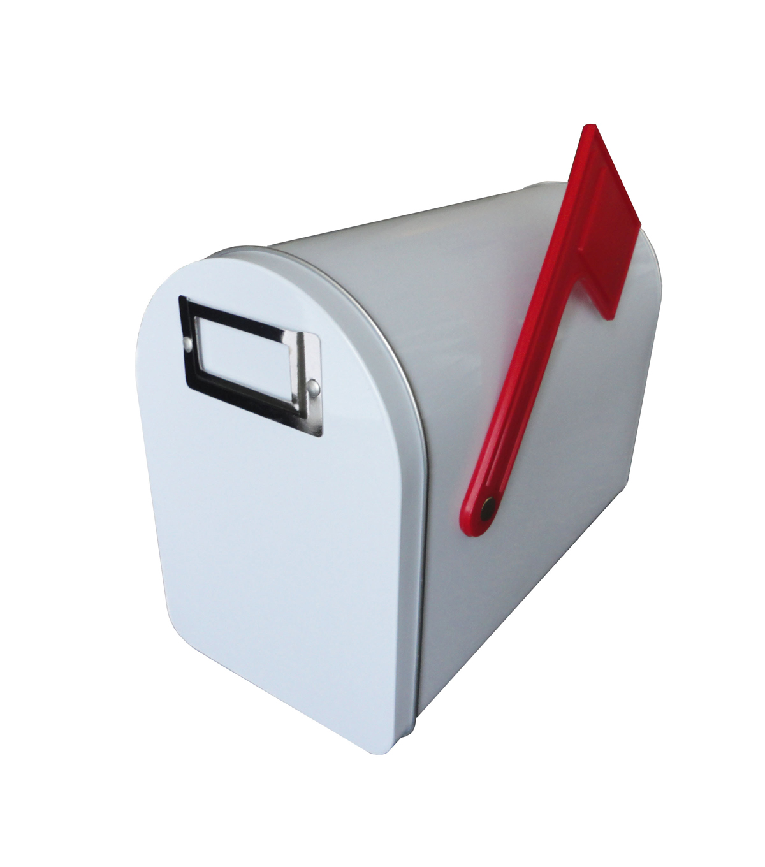 Medium Tin Mailbox W/Flagu0026Label Holder White, ...