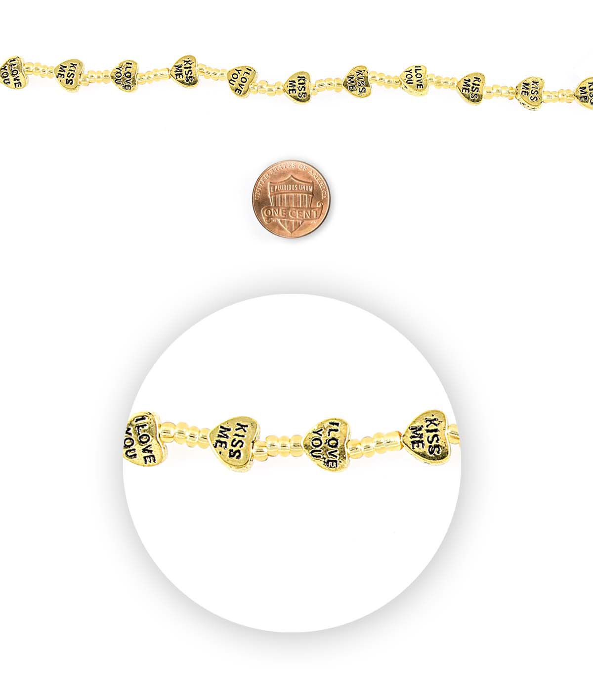 Blue Moon Bead Strands Love Gold