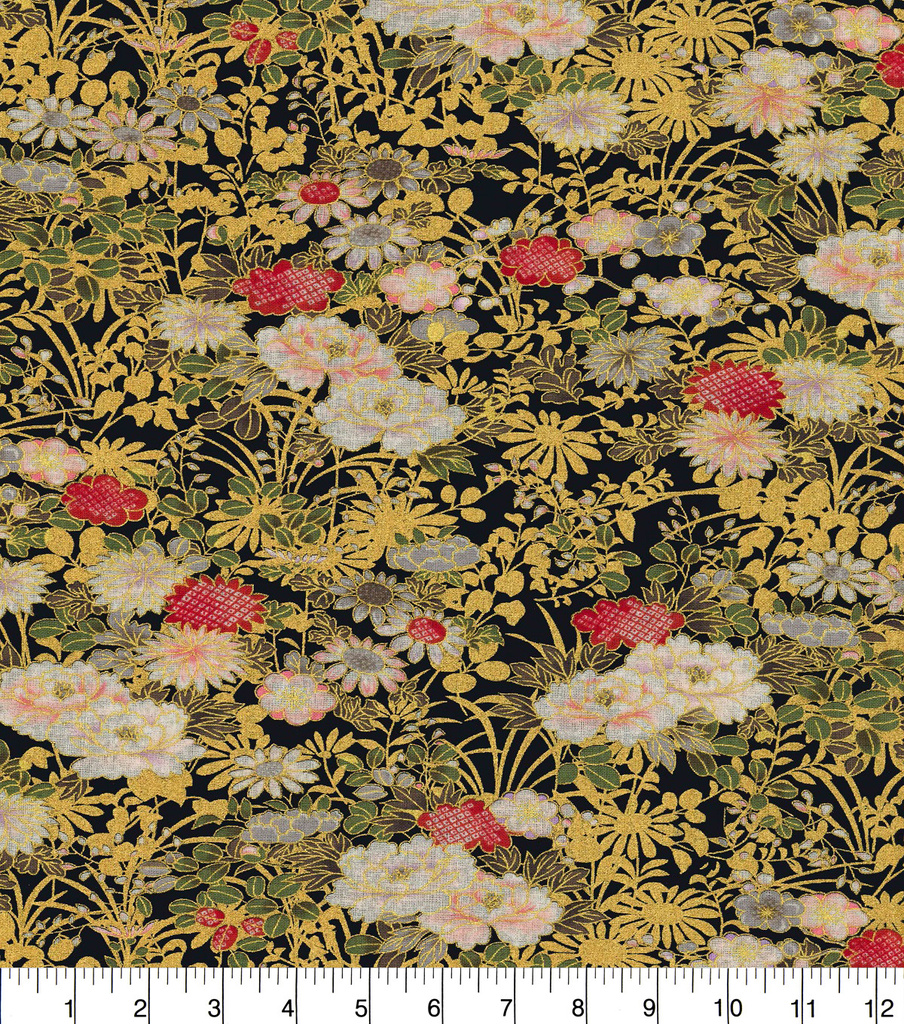 Asian Inspired Cotton Fabric 43\u0022-Small Florals Black Metallic