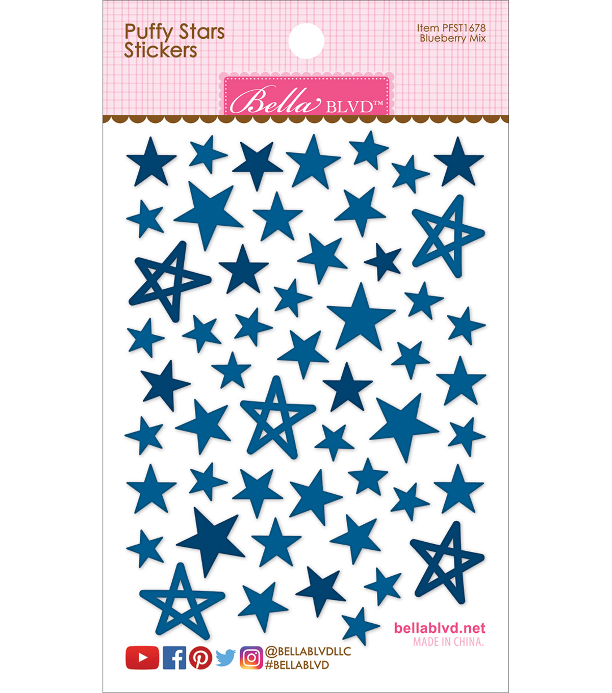 Puffy Star Stickers-Blueberry Mix