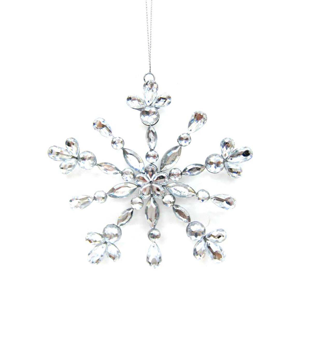 Maker\u0027s Holiday Jeweled Silver Snowflake Ornament