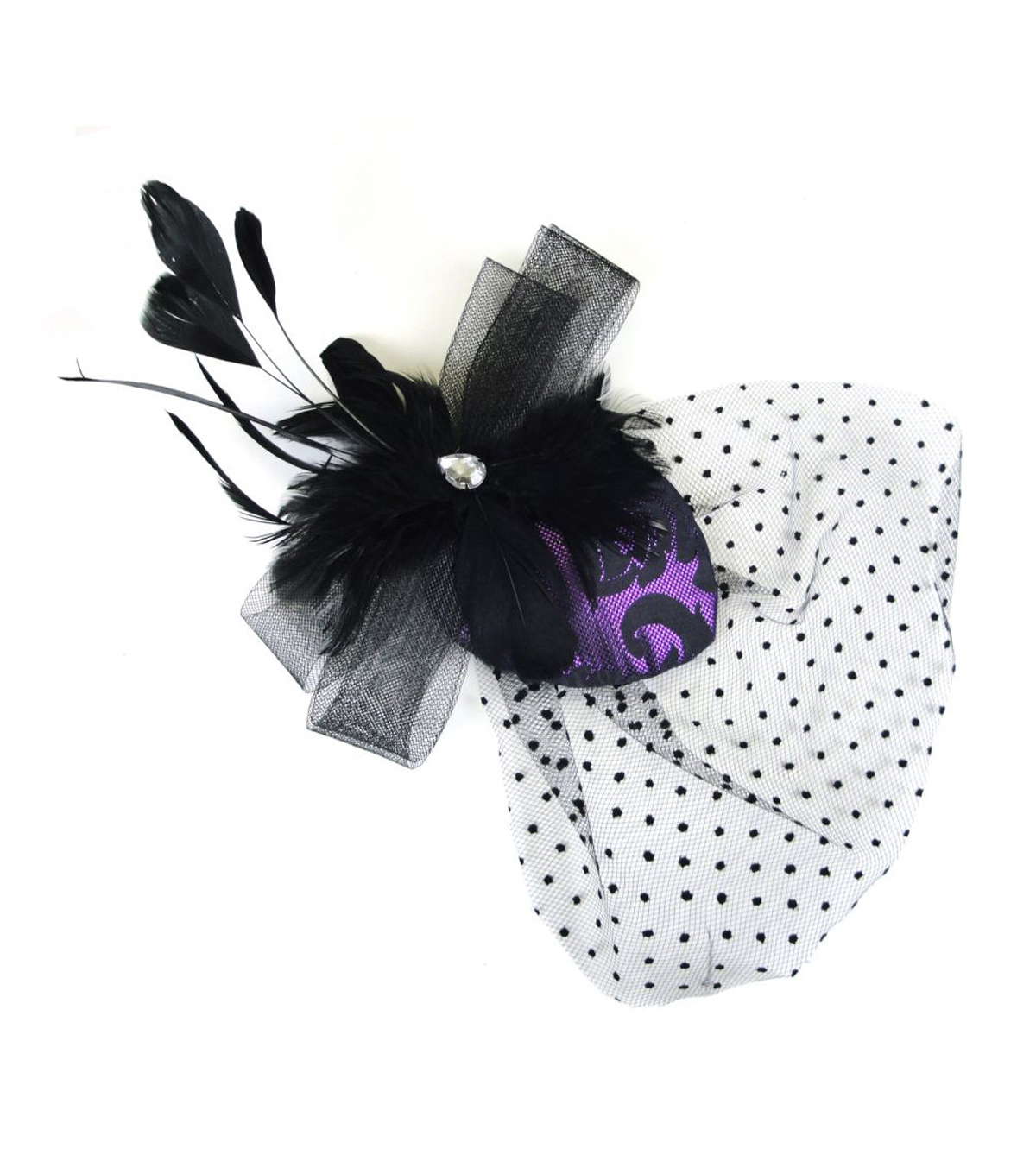 Maker's Halloween Brocade Teardrop Clip With Veil-Black & Purple