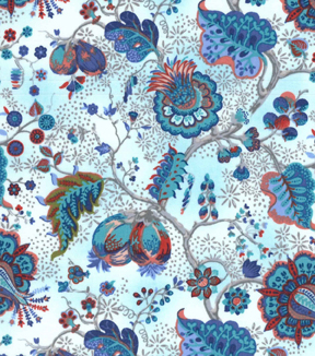 Asian Inspired Cotton Fabric 43\u0022-Bright Jacobean Floral