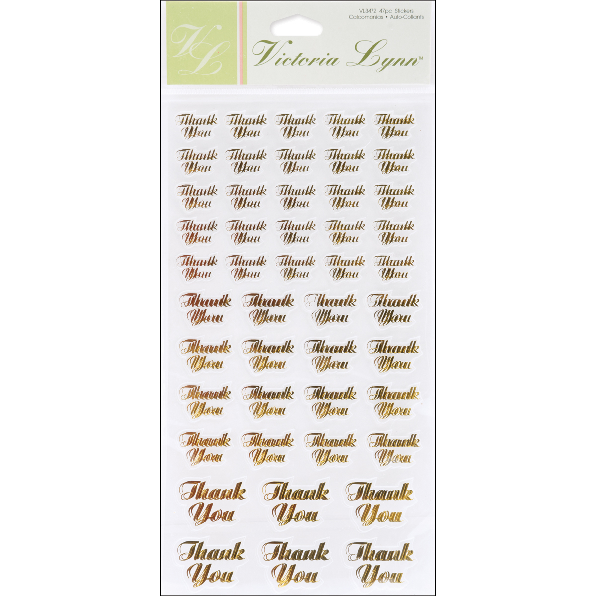 Clear Stickers 47/Pkg- Gold Thank You