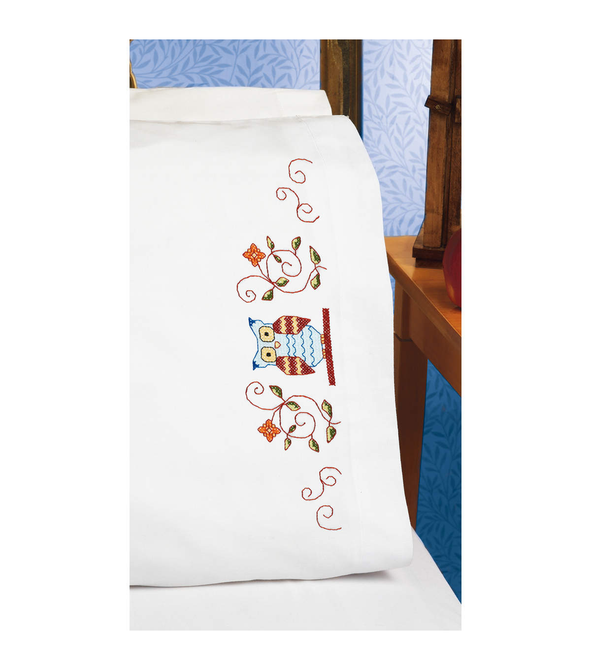 Owl Pillowcase Pair Stamped Cross Stitch-20\u0022X30\u0022
