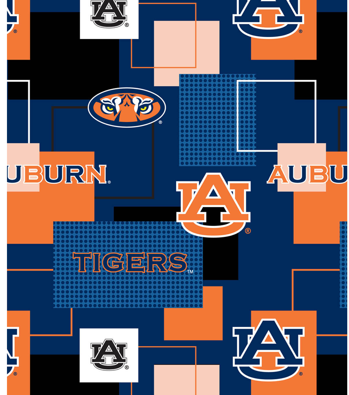 Auburn University Tigers Cotton Fabric 43\u0022-Logo