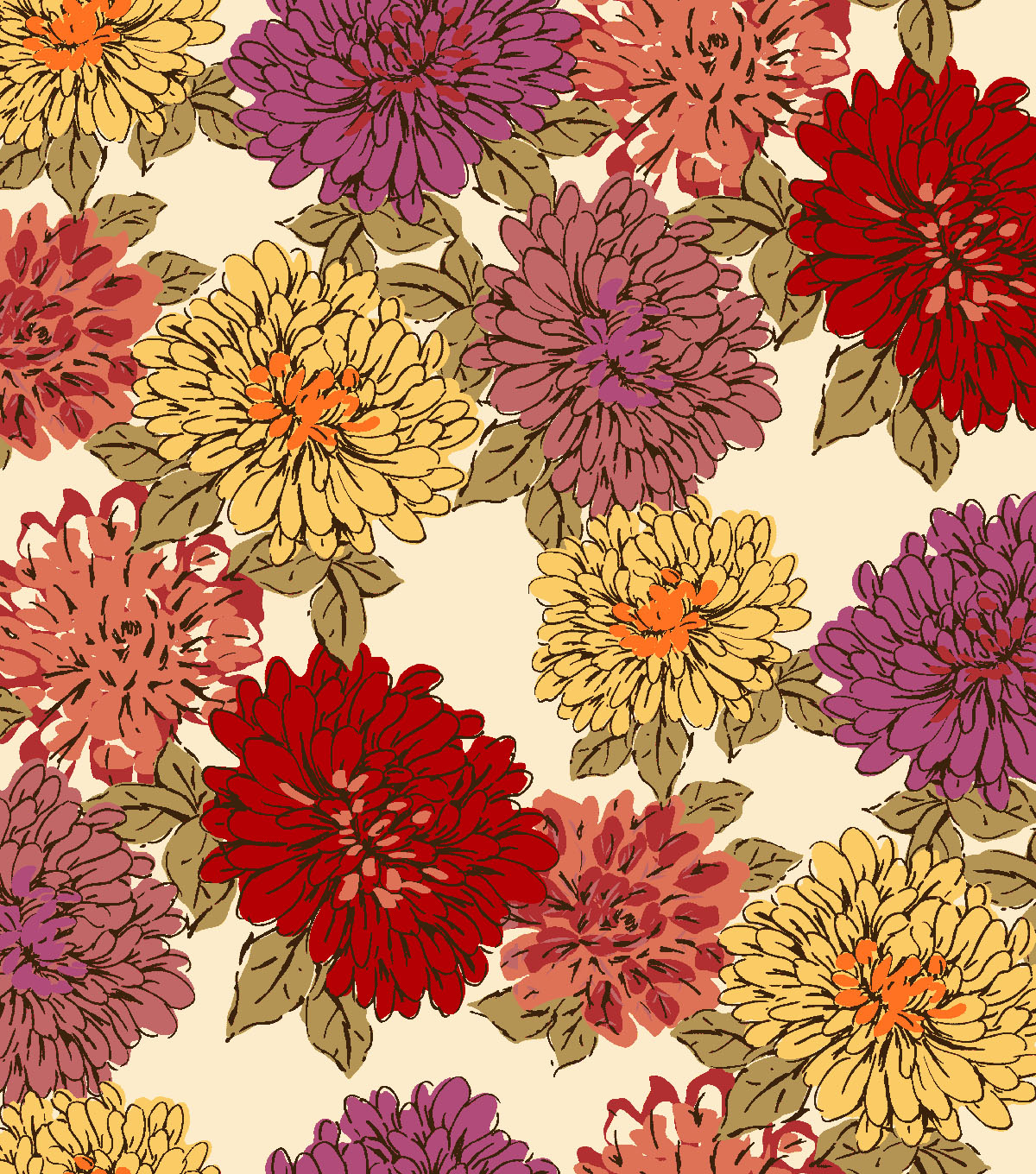 Anti-Pill Fleece Fabric 59\u0022-Autumn Mums