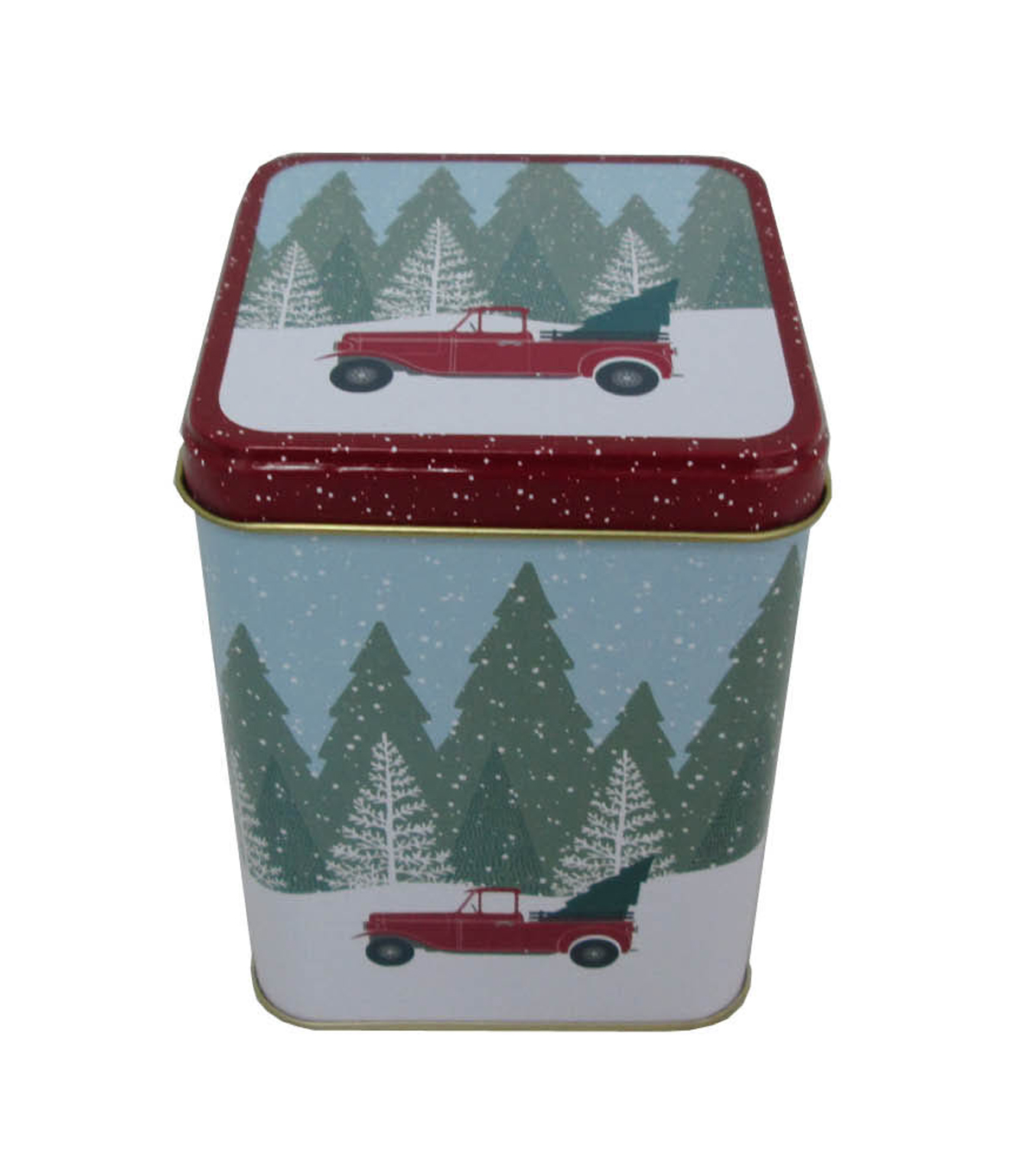 Maker\u0027s Holiday Christmas Medium Square Solid Top Canister-Truck