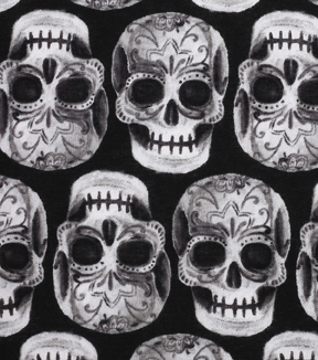 Halloween Cotton Fabric 43\u0022-Skeleton Sugar Skulls