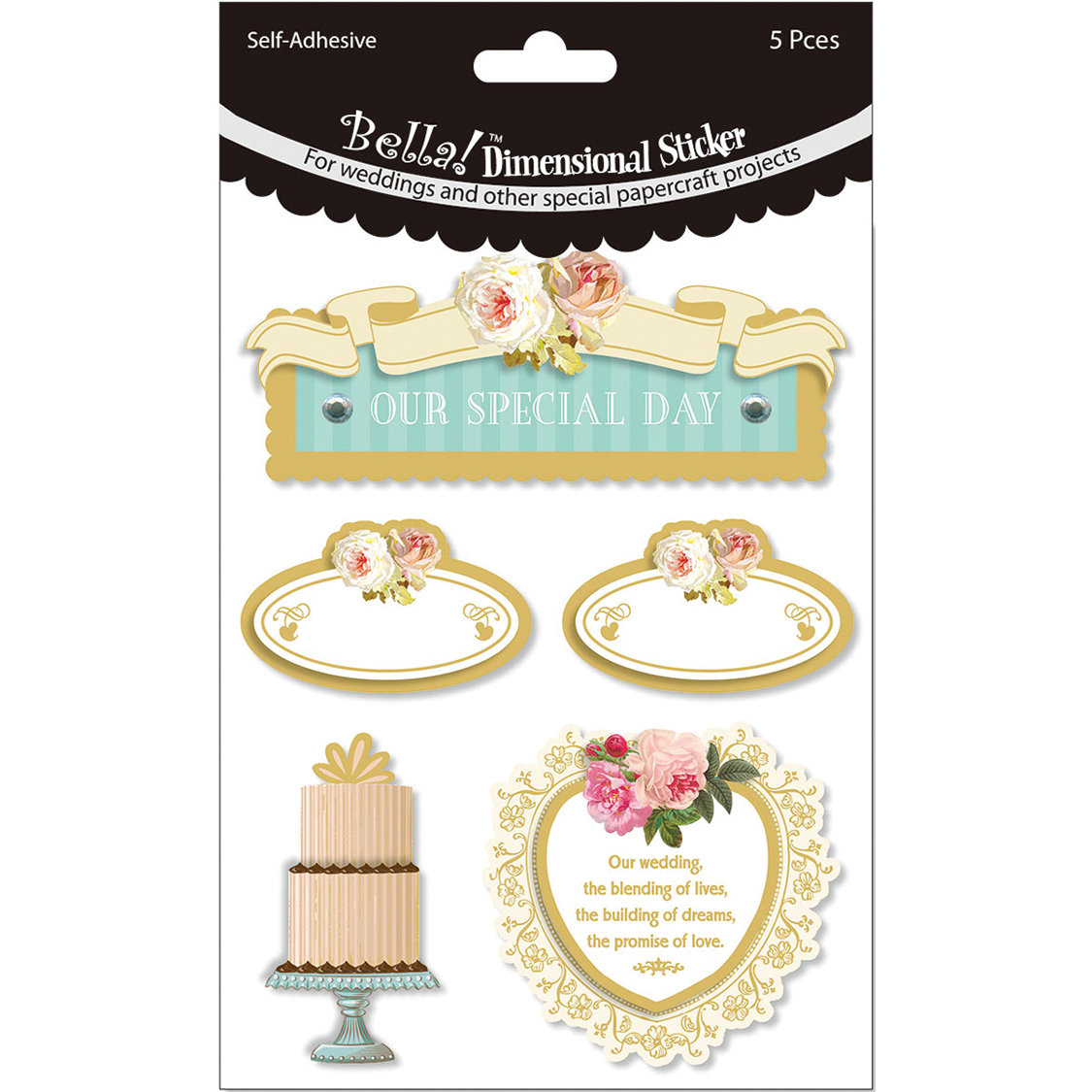 Ruby Rock-It Glitter & Foil 3D Stickers Our Special Day Multi