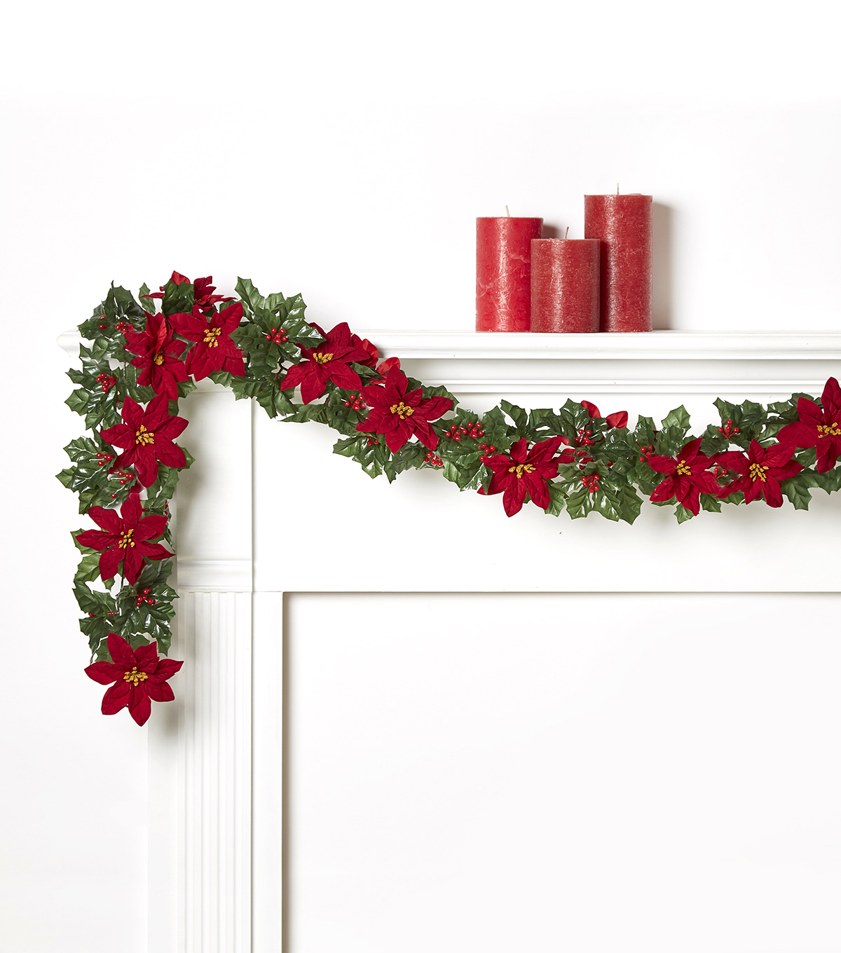 Blooming Holiday 66\u0027\u0027 Poinsettia, Holly & Berry Chain Garland-Red