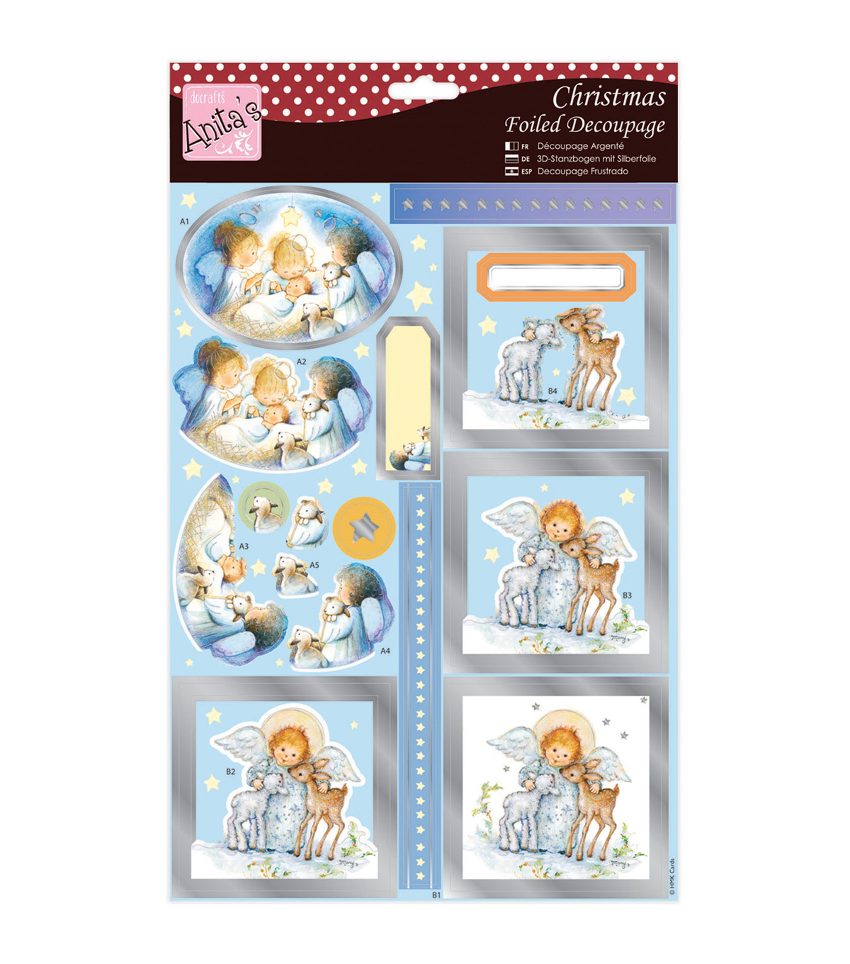 Anita\u0027s A4 Foiled Decoupage Sheet-Cute Angel