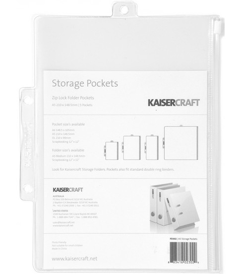 "Kaisercraft 8-1/4""x6"" Pack&Store Storage Pockets-5PK"