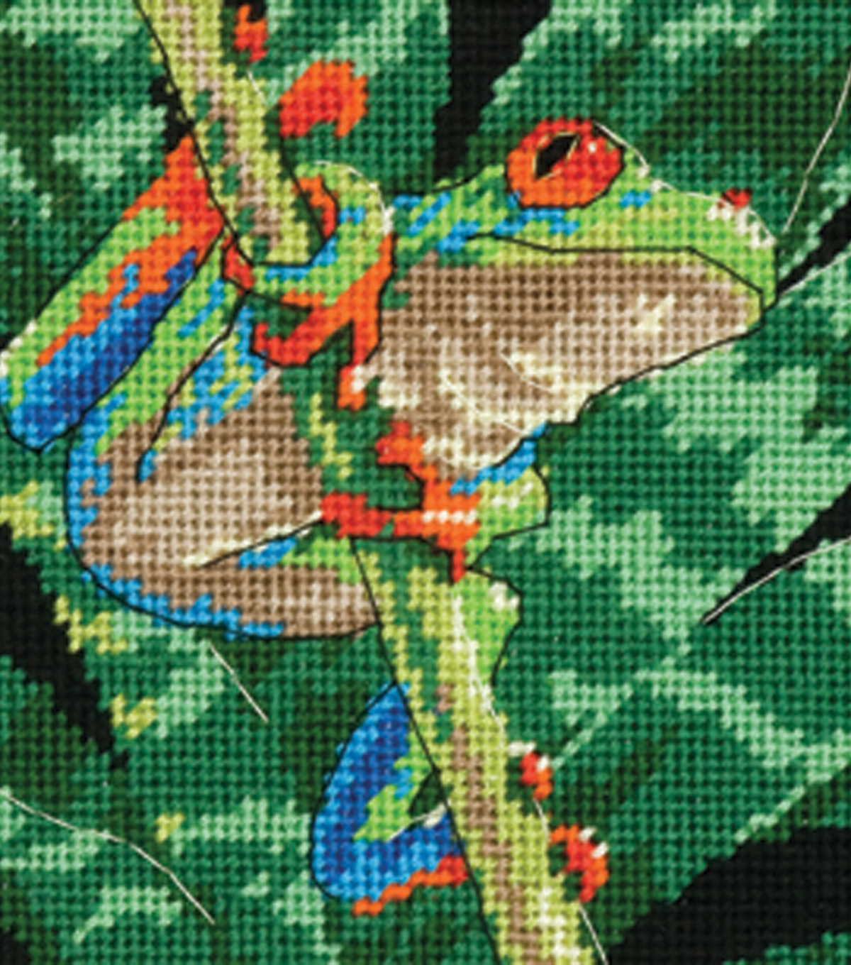 "Dimensions Red-Eyed Leaf Frog Mini Needlepoint Kit-5""X5"" Stitched In Thread"