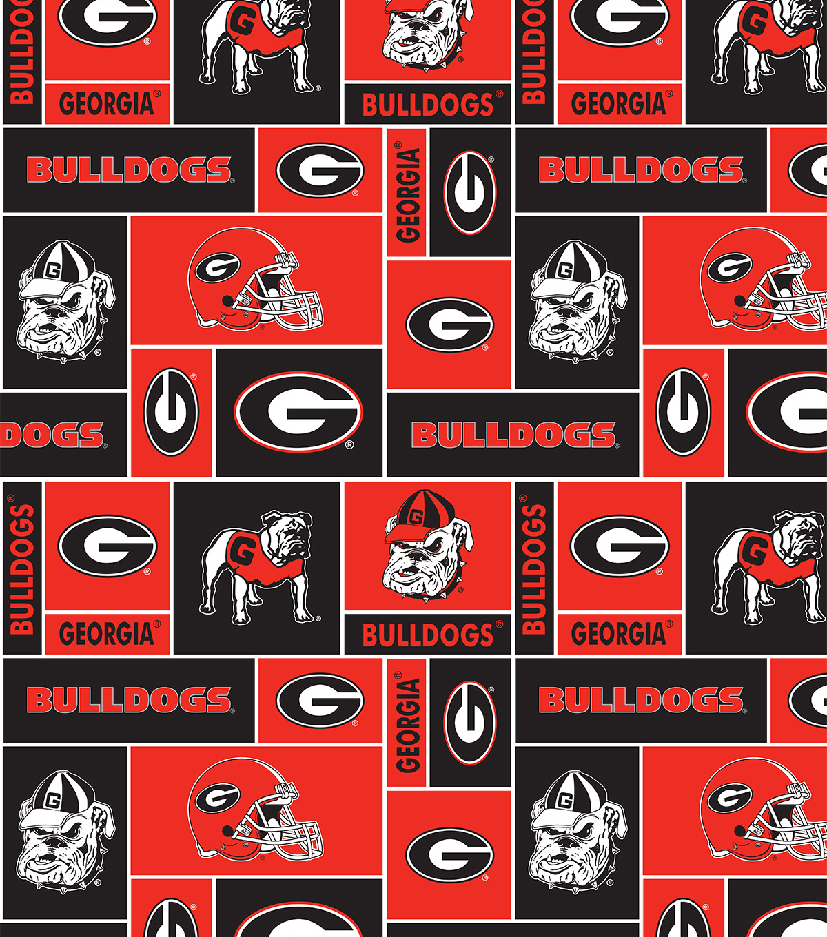 University of Georgia Bulldogs Fleece Fabric 58\u0022-Block