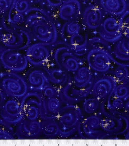 "Premium Cotton Fabric 44""-Stars Violet"