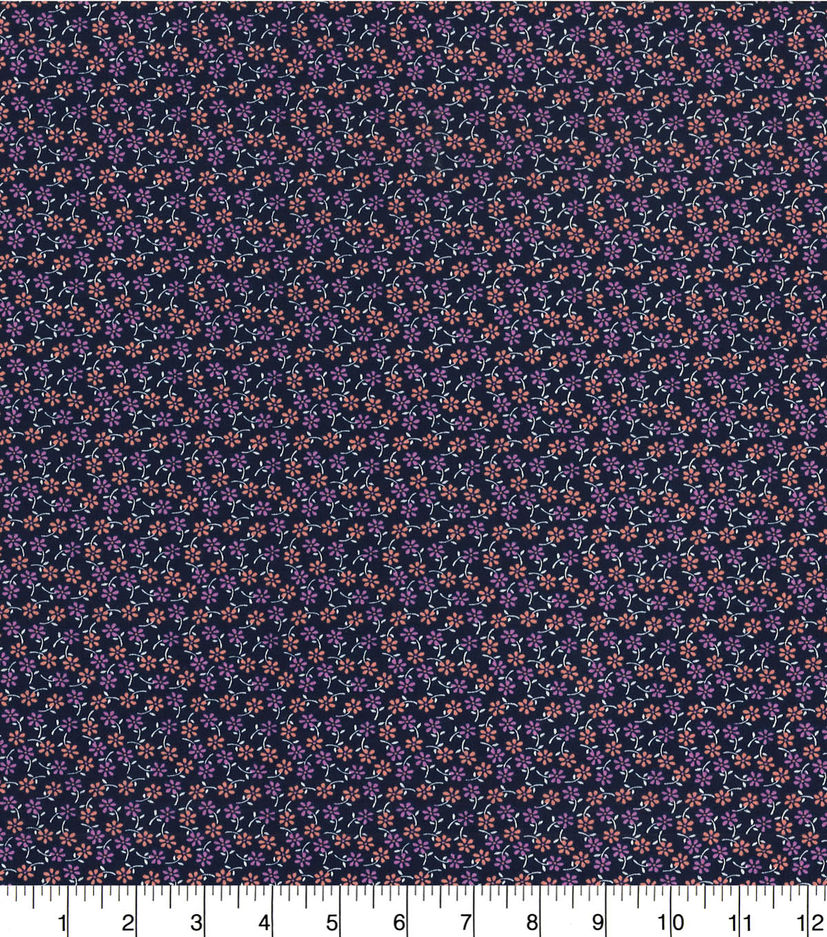 Quilter\u0027s Showcase™ Fabric 44\u0027\u0027-Mauve Ditsy Floral on Navy