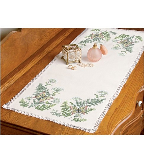 Butterflies And Fern Dresser Scarf Stamped Cross Stitch-14\u0022x37\u0022