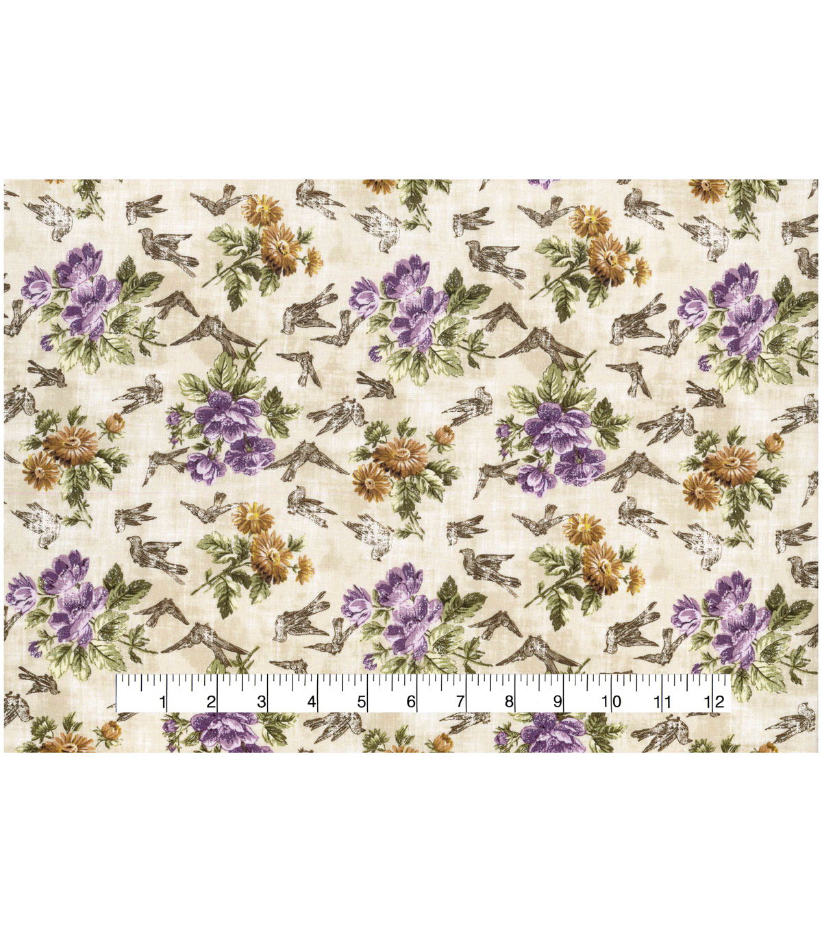 Vintage Cotton Fabric 43\u0022-Bird Floral Ivory