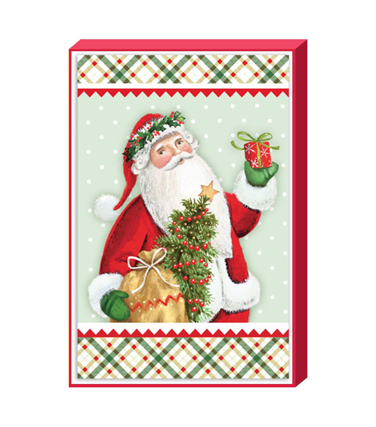 Holiday Cheer $12.99 Deluxe Traditional-Santa With Plaid Cards