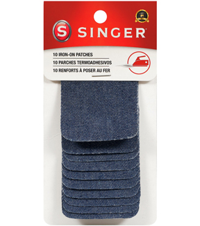 "Singer® Iron-On Patches 2x3"" 10/Pkg-Denim"