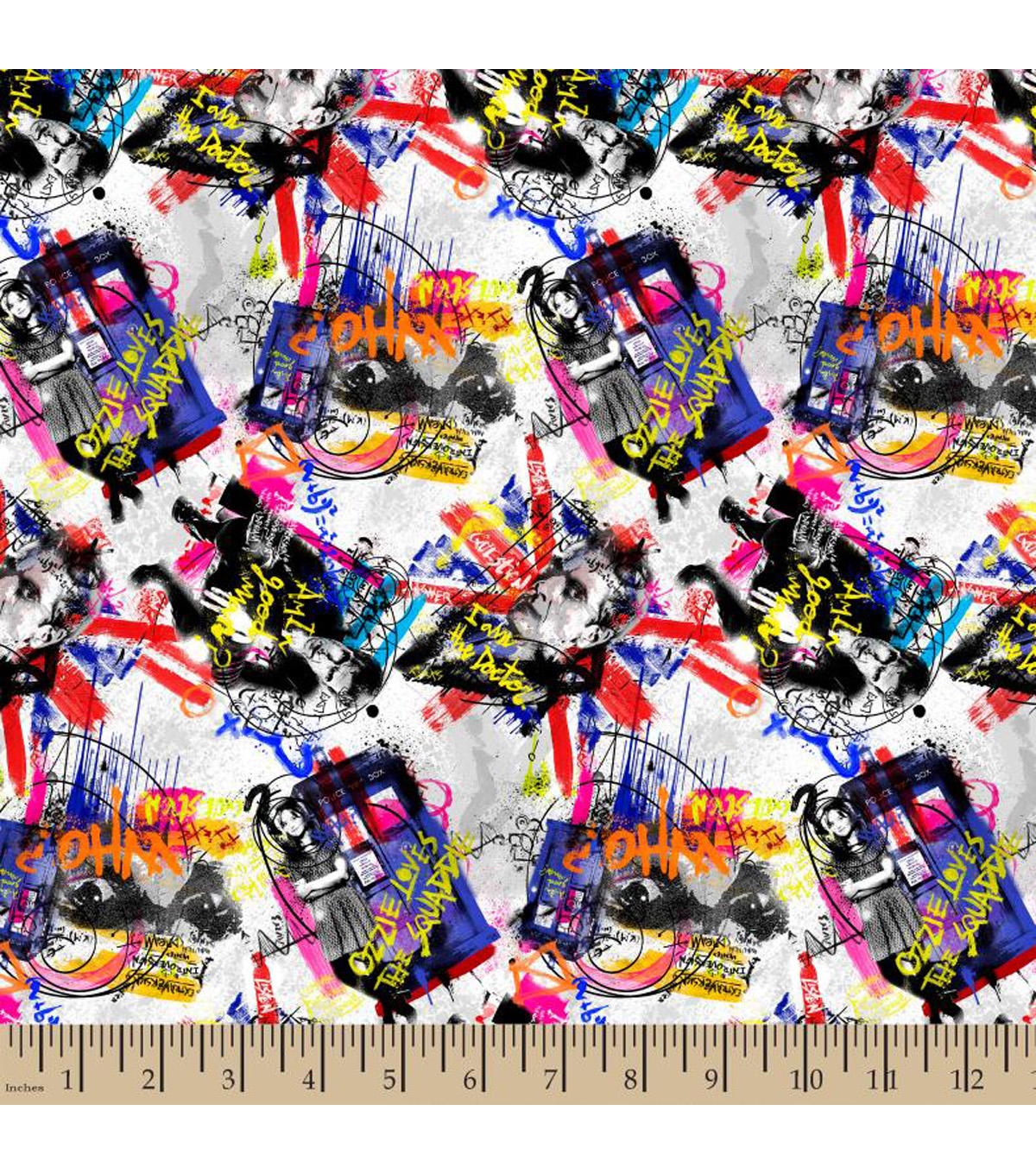 "Doctor Who Cotton Fabric 43""-Graffti Toss"