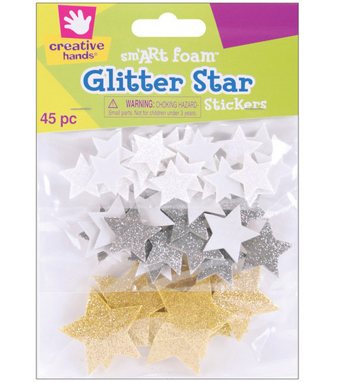 Fibrecraft Foam Stickers-45PK/Glitter Stars