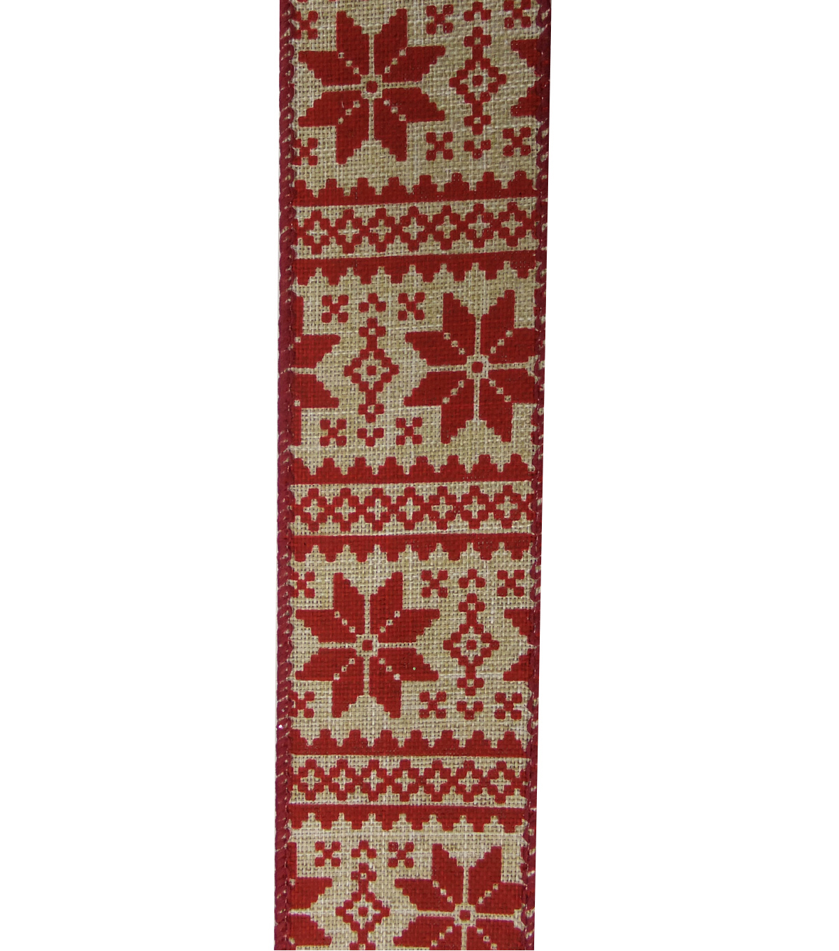 Maker\u0027s Holiday Christmas Ribbon 1.5\u0027\u0027x30\u0027-Red Nordic Snowflake on Beige
