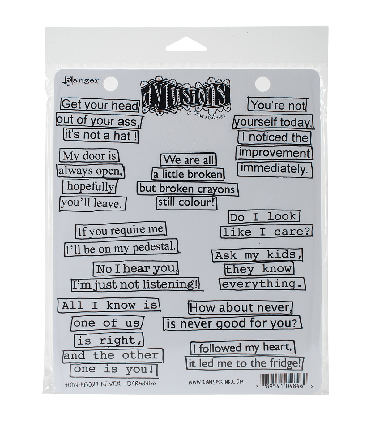 Dylusions Cling Rubber Stamp Set-How About Never