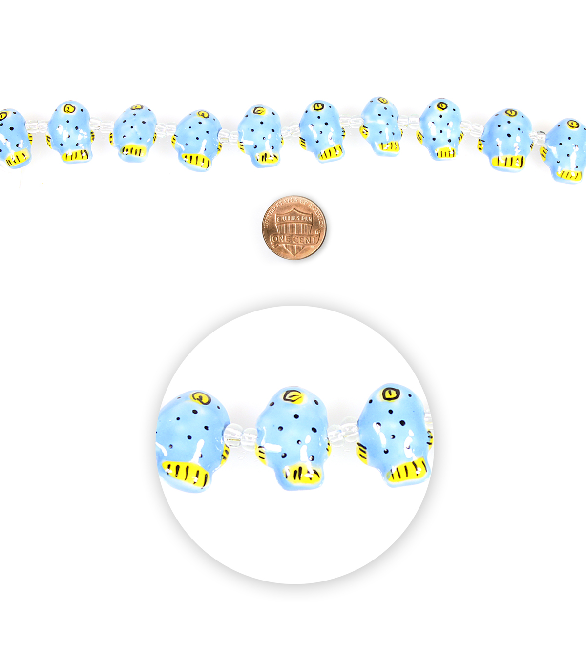 Blue Moon Beads Strand Ceramic Fish Blue