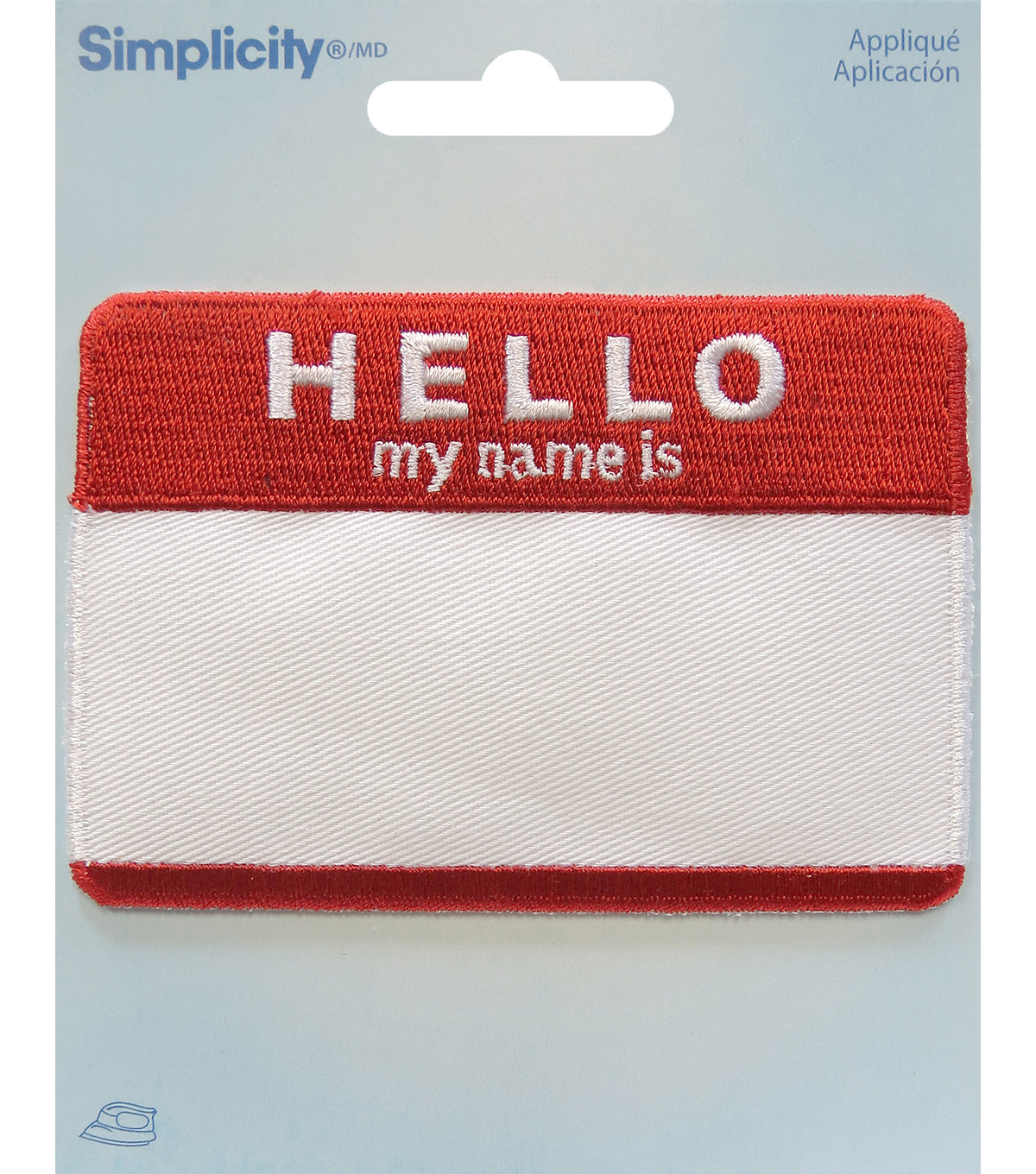 Simplicity® Embroidered Iron-On Applique-Hello My Name Is