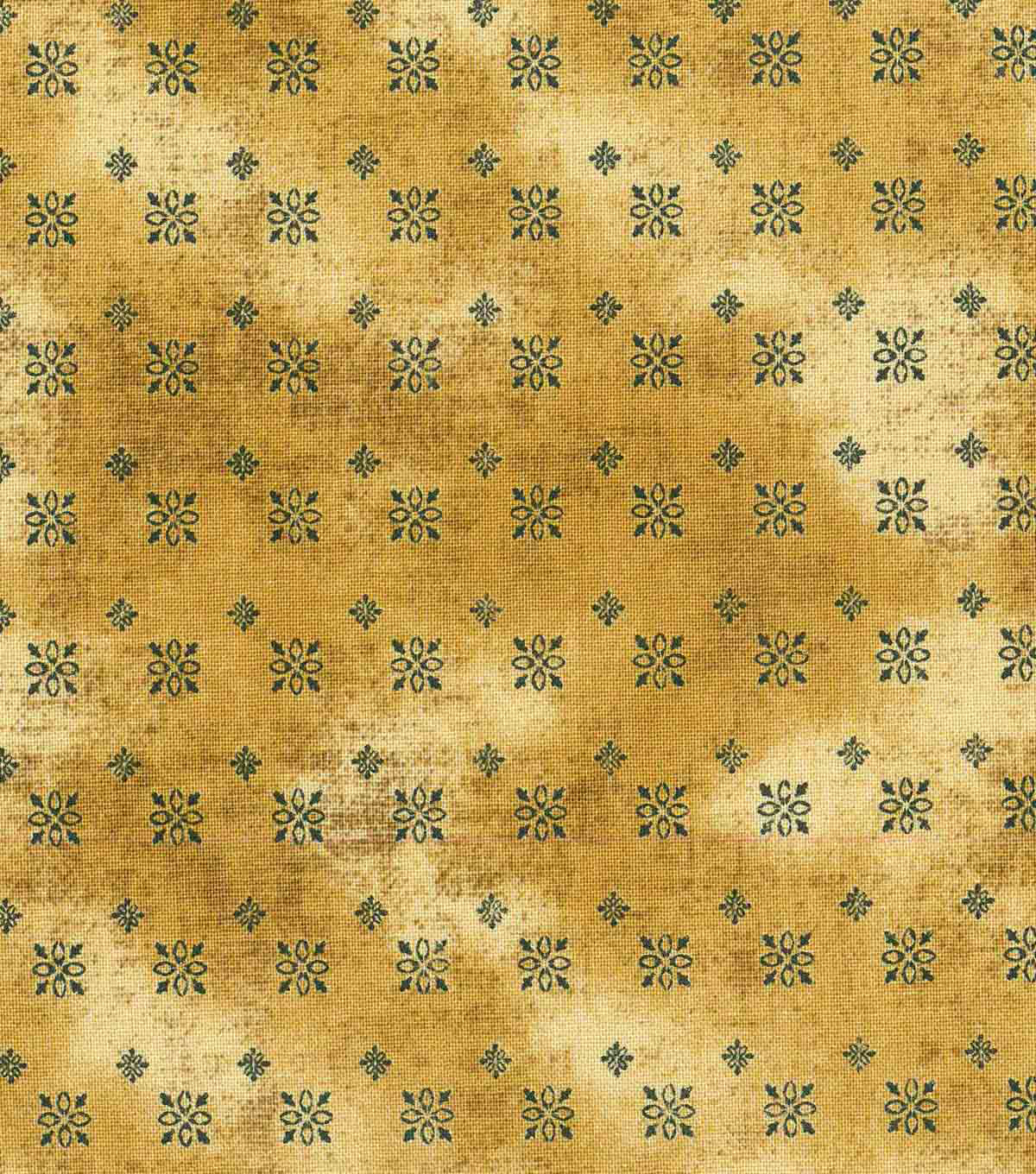 "Vintage Cotton Fabric 43""-Intricate Squares Gold"