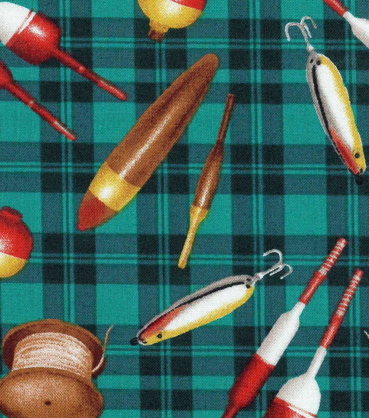 "Novelty Cotton Fabric 43""-Fishing Lures On Plaid"