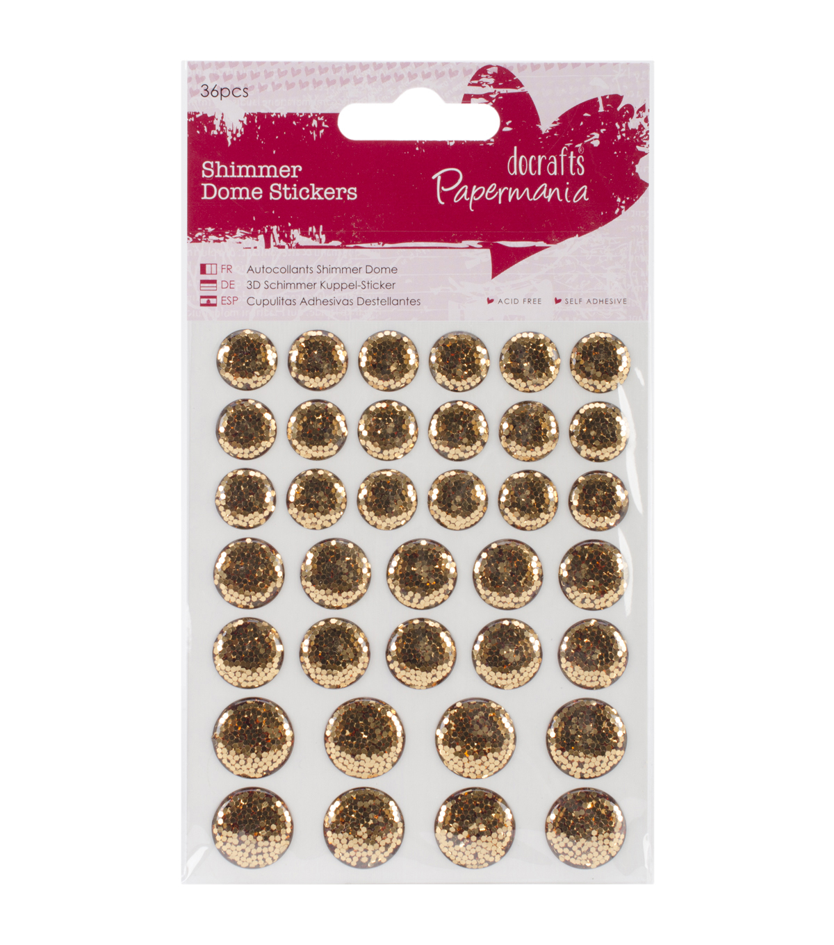Papermania Shimmer Dome Bling Stickers 36 Pcs