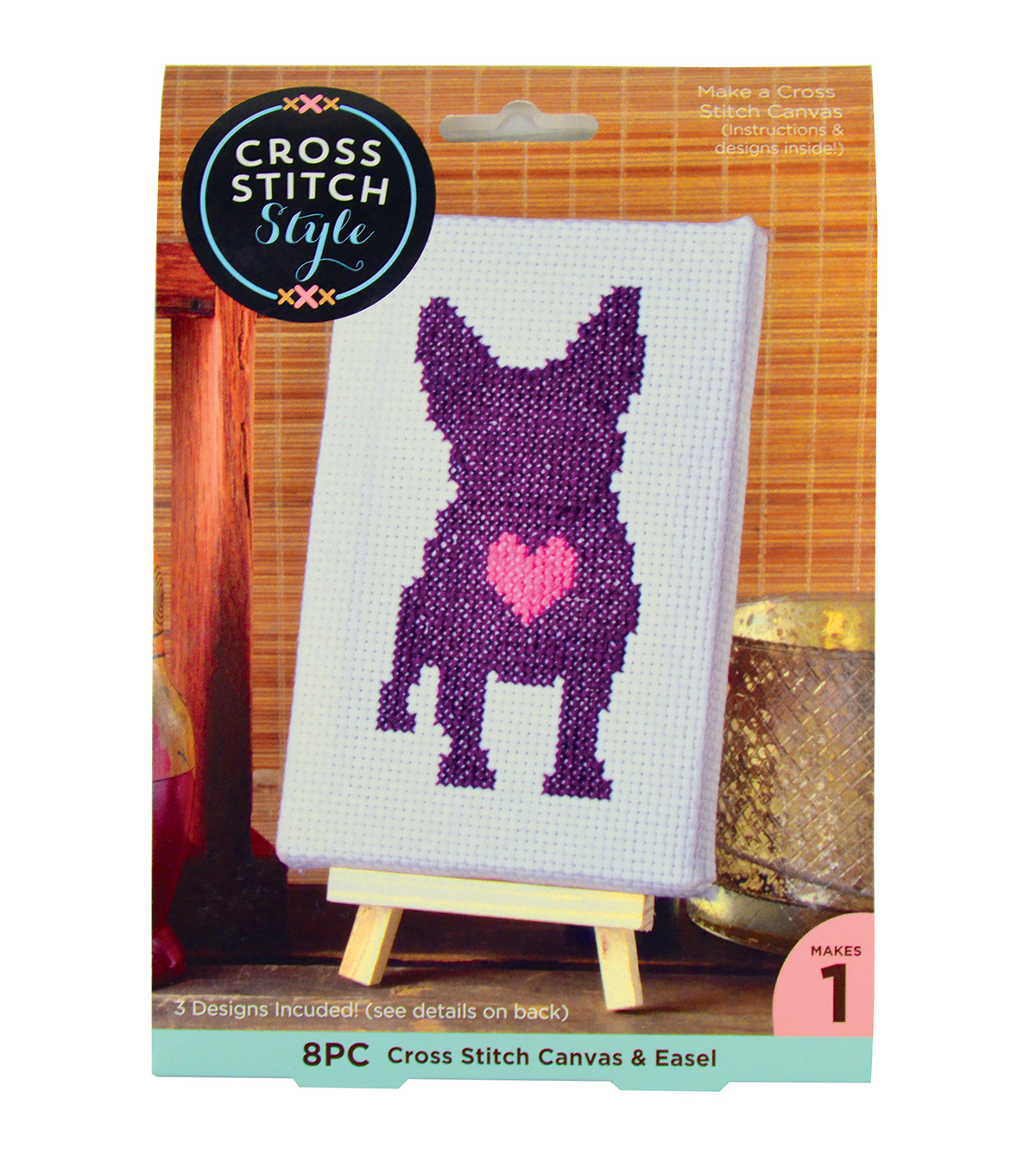 Cross Stitch Style Cross Stitch Canvas & Easel