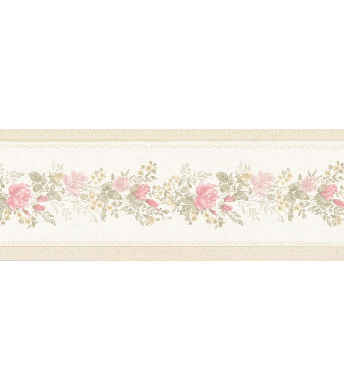 Alexa Pink Floral Meadow Wallpaper Border Sample