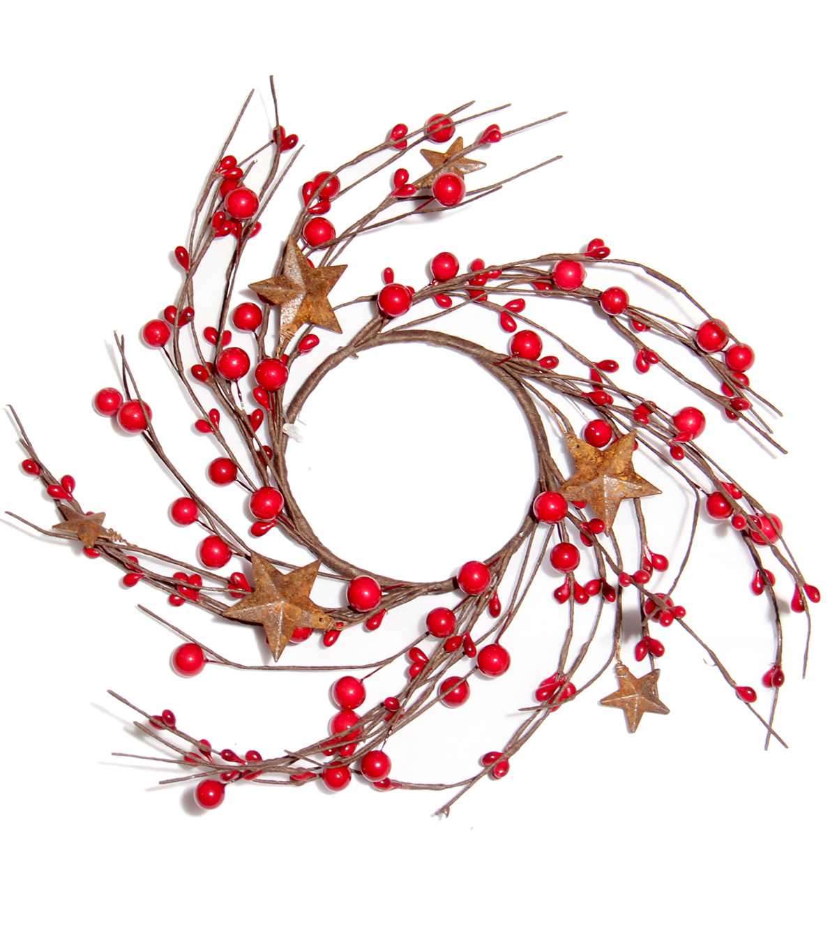 Blooming Holiday Berry & Star Mini Wreath-Red