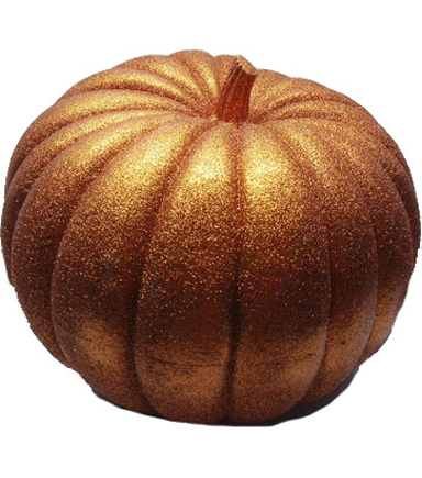 Pumpkin Boutique Large Decorative Pumpkin-Dark Orange Glitter
