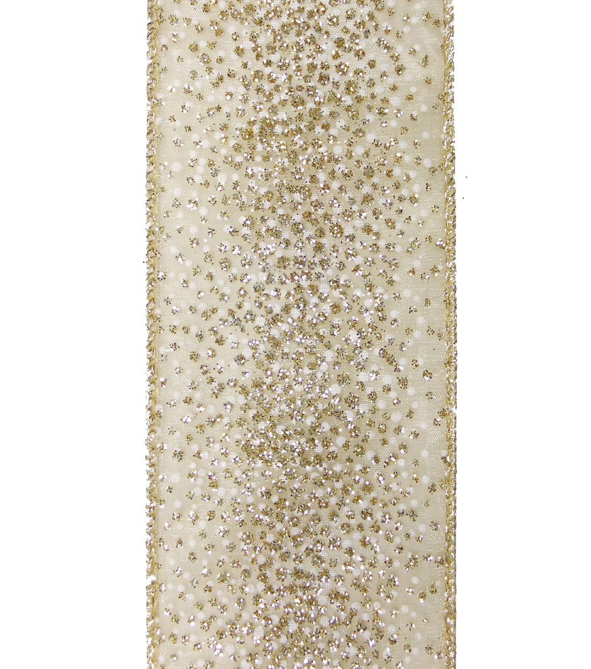 Maker\u0027s Holiday Christmas Ribbon 2.5\u0027\u0027x25\u0027-Gold Sparkle on Beige