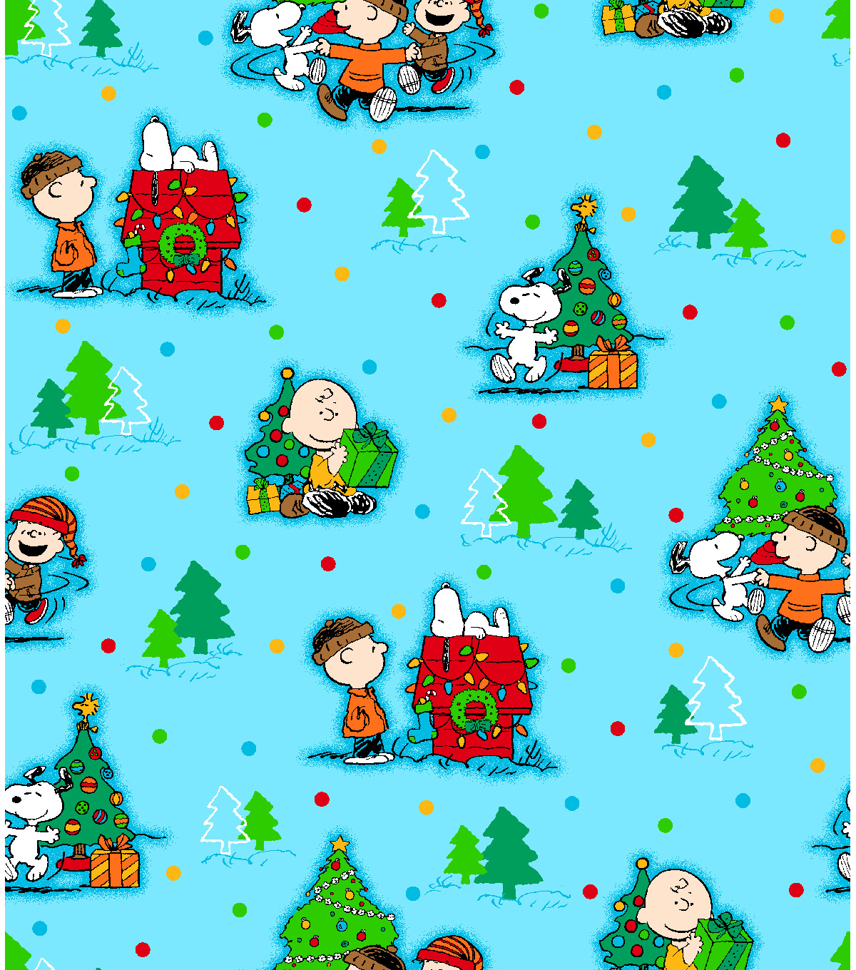 Holiday Inspirations Fabric-Peanuts Christmas Scenic | JOANN