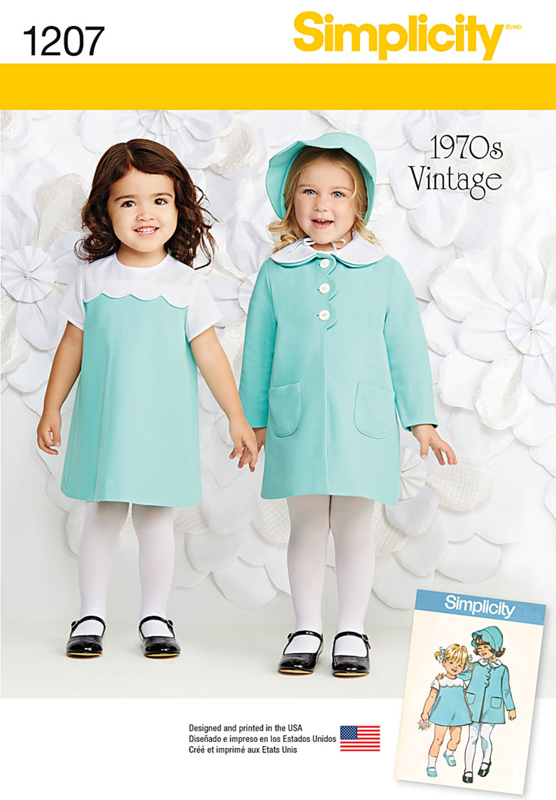 Simplicity Pattern 1207A 1/2-1-2-3--Toddlers