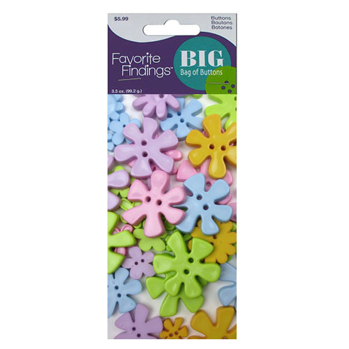 Ff Big Bag Of Buttons Pastel Flowers