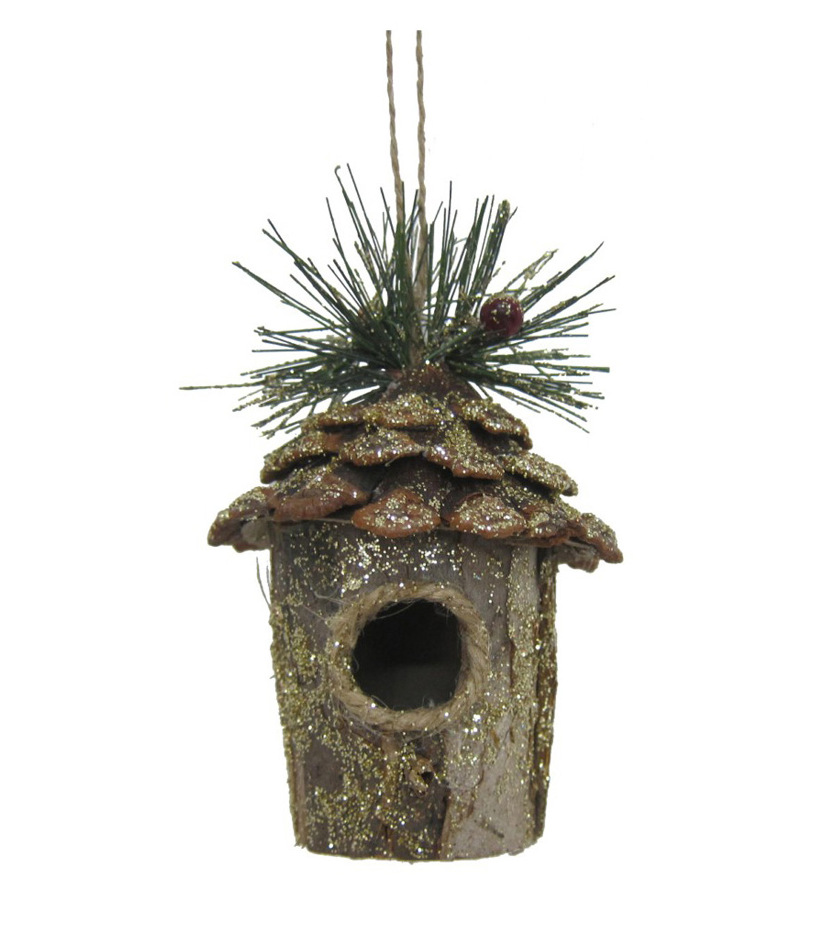Maker\u0027s Holiday Glistening Pines Glitter Birdhouse Ornament-Gold