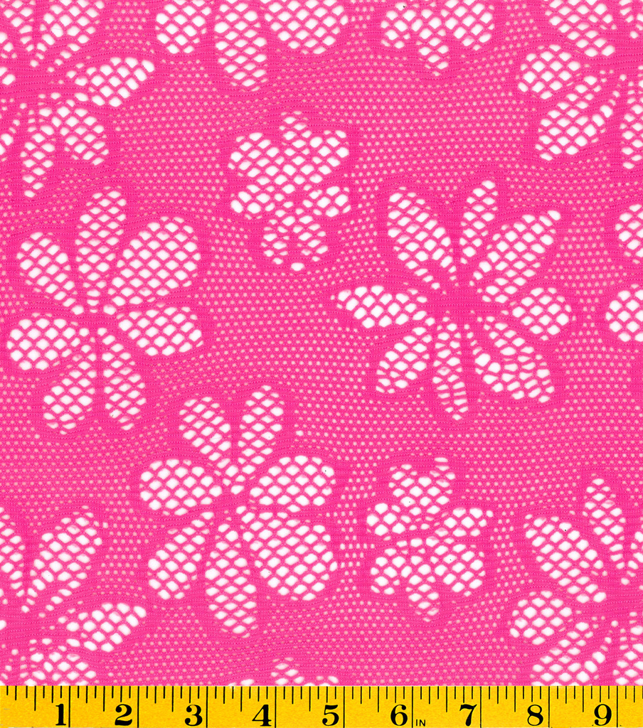 Summerville Open Weave Floral Knit Fabric-Pink