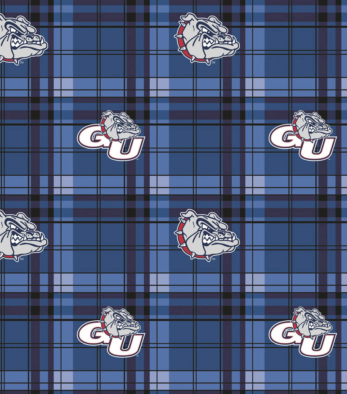 Gonzaga University Bulldogs Fleece Fabric 58\u0022-Plaid