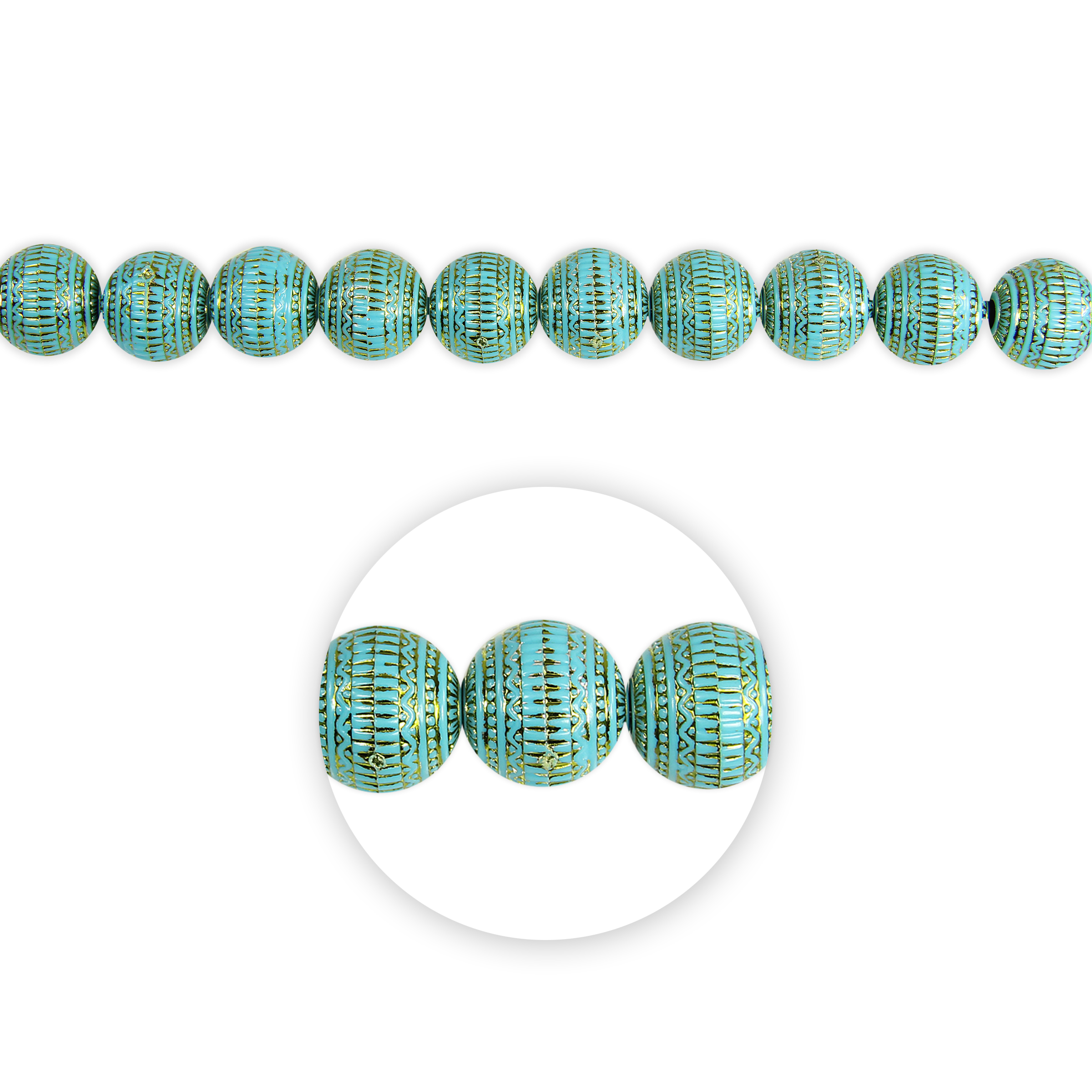Blue Moon Beads Strand 7\u0022 Plastic Round, Turquoise/Gold, Carved