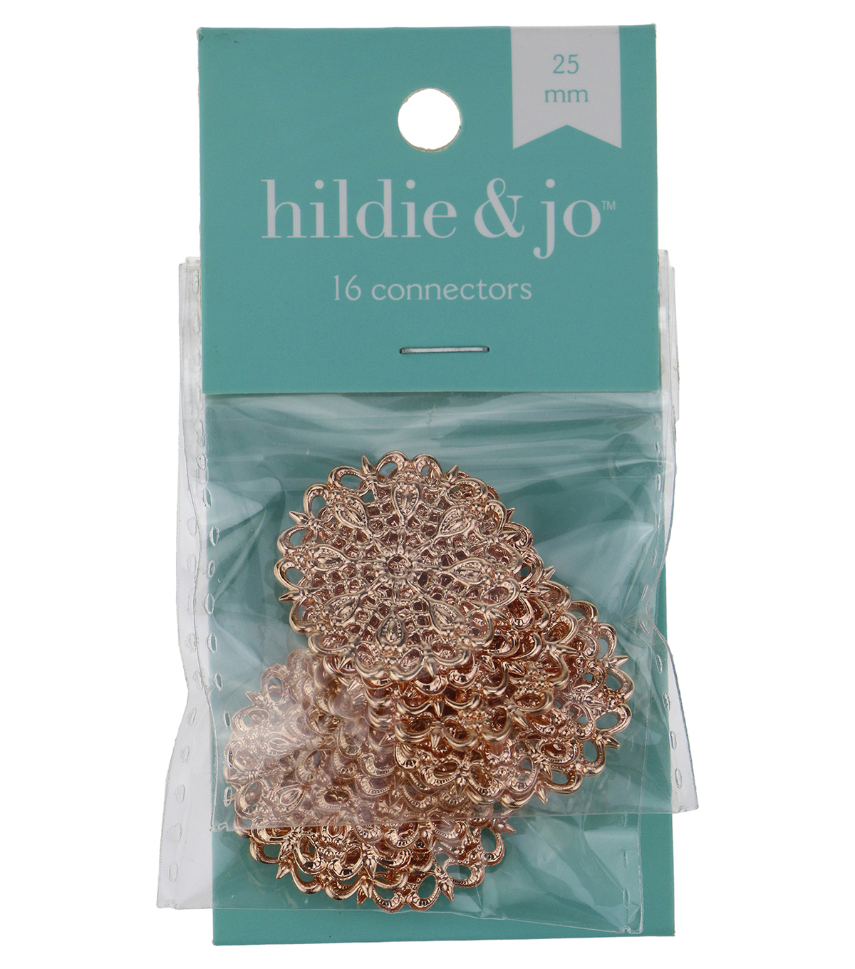 hildie & jo™ 16 Pack 25mm Filigree Rose Gold Connectors