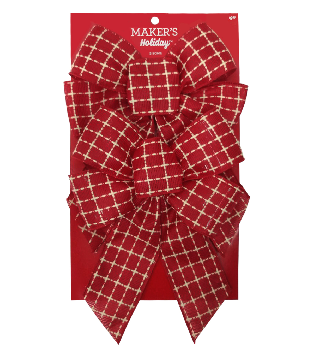 Maker\u0027s Holiday Christmas 2 pk 7.5\u0027\u0027x10\u0027\u0027 Fashion Bows-Red & White Plaid