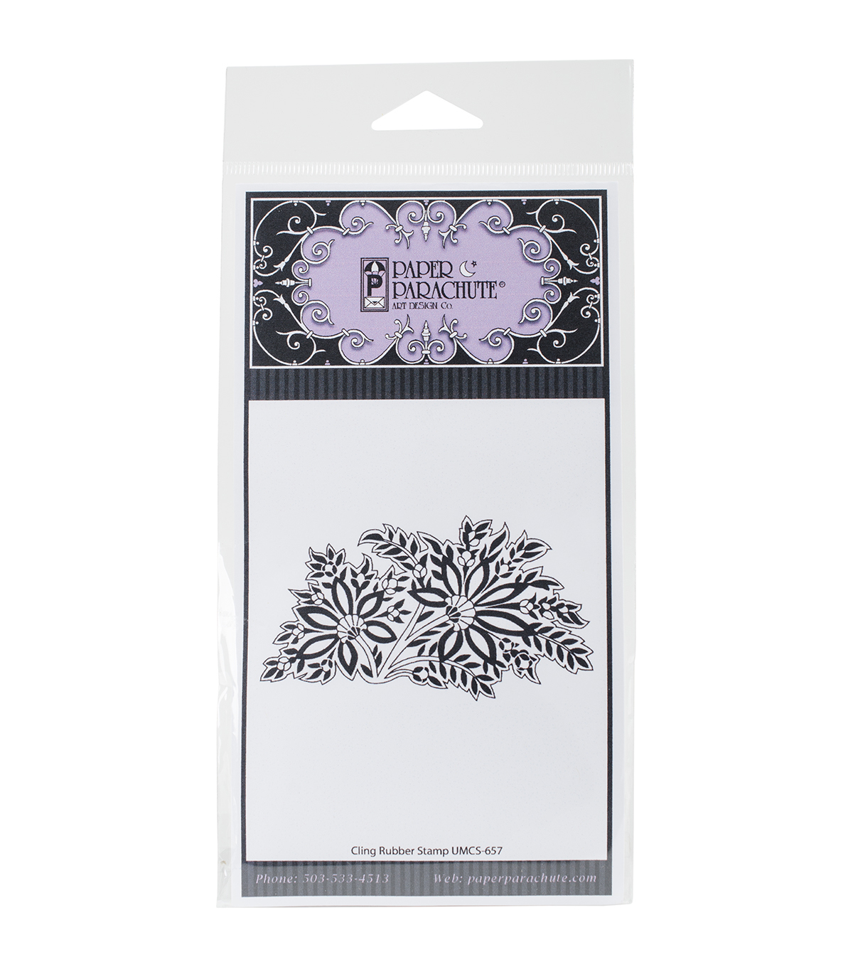 Paper Parachute Cling Rubber Stamps-Floral & Leaves