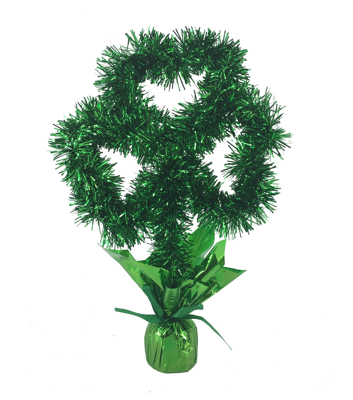 St. Patrick\u0027s Day Shamrock Tinsel Centerpiece